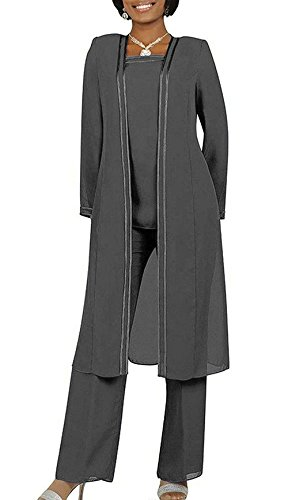 af0389772a41 Fitty Lell Women s Chiffon Pant Suits Plus Size 3 Pieces with Long Sleeves  Jacket Mother of