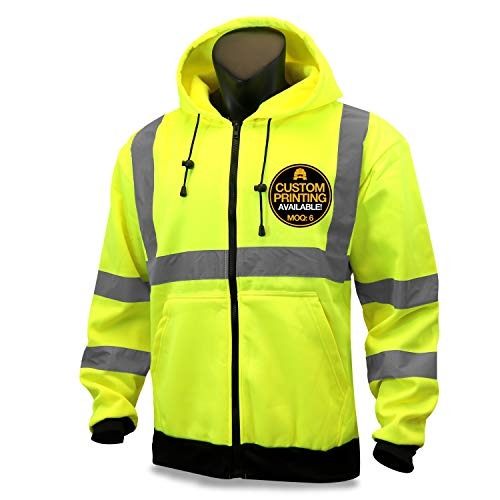 KwikSafety (Charlotte, NC) PATROL | Class 3 Fleece Hoodie Premium (No Fuzz Balls or Lint) Durable Zipper Construction Work Wear Hi Vis Reflective ANSI Compliant OSHA Approved Safety Jacket | Medium
