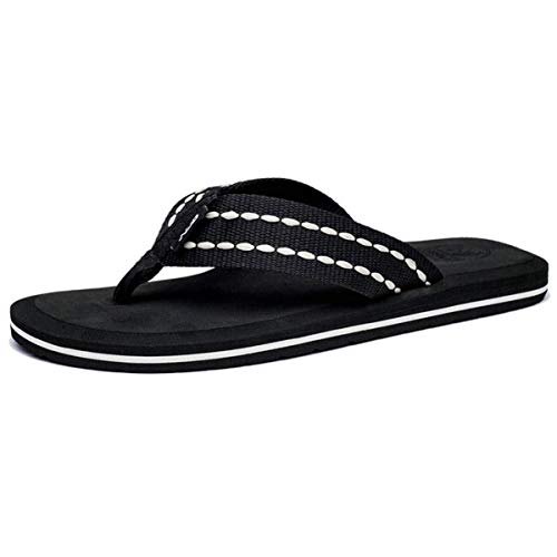 Men's Classic Flip-Flops Light Weight Shock Proof Slippers Comfortable Fashion Indoor and Outdoor Sandals (Color : Schwarz-Weiss, Size : 9.5 M US) (Schwarz Weiß Frame)