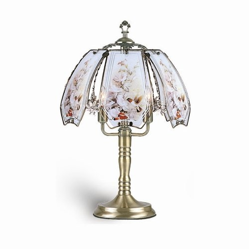 Glass Hummingbird Scene Touch Lamp, Brushed Gold - Ore International K303