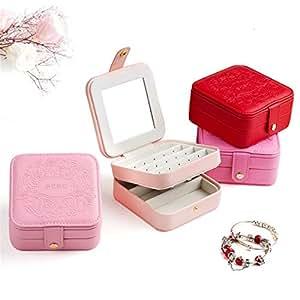 Haitao Portable Jewelry Box Small Mini Cute Travel Simple Small Princess European Korean Small Jewelry Storage Box (Color : Red)