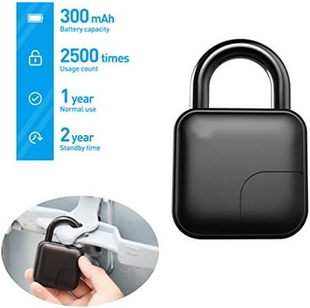 指紋南京錠、カバー、10セットの自転車、ドア、スーツケース、ワードローブのための指紋クイックロック解除のIP65防水、USB充電式盗難防止付きのスマートセキュリティの南京錠
