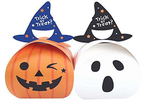 Zealax 10pcs Trick or Treat Halloween Candy Boxes Theme Party Favors Gift Bags Decorations Ideas]()