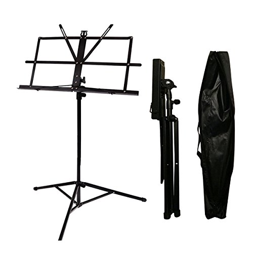 Music Stand Audo Folding Music Stand With Music Book Clip And Carry Bag Black (1Pack) by Audo (Image #4)