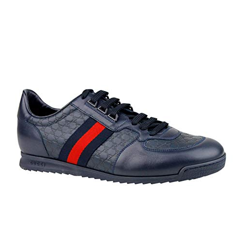(Gucci Guccissima Pattern Navy Blue Leather Shoes BRB Web 233334 4066 (11.5 G / 12.5 US))