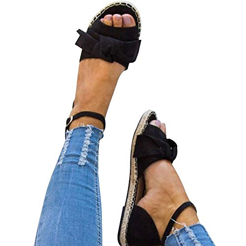 XMWEALTHY Women's Cute Bow Espadrilles Sandals Shoes Lightweight Open Toe Ankle Buckle Strappy Flat Sandals Black US -