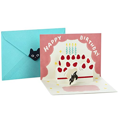 Hallmark Pop Up Birthday Greeting Card (Cat with Birthday Cake) ()