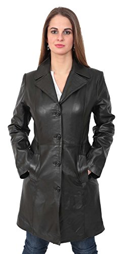 Ladies Fitted 3/4 Length Real Leather Jacket Womens Classic Mac Coat Cynthia Black ()