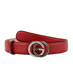 Gucci Unisex Interlocking G Red Leather With Silver Black Buckle Belt 295704 6420 105 42