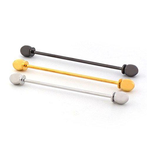 3 Pcs Collar Bar Pin Set Mens Tone Steel Collar Tie Pin Stud Bar Clip Clasp Brooch 6CM