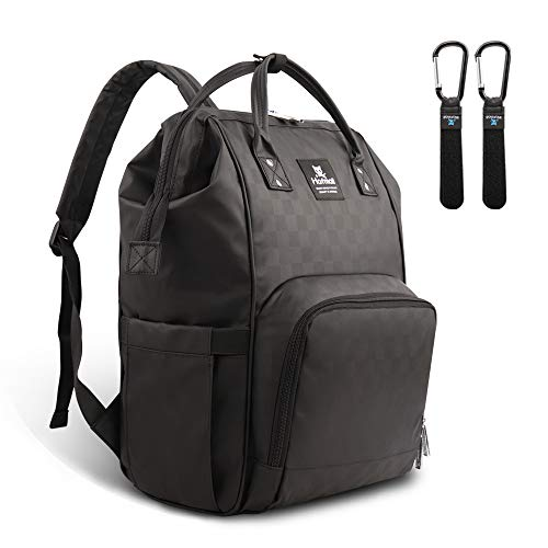 Hafmall Diaper Bag Backpack Waterproof Multi-Function Travel Bags, Large Capacity and Durable Baby Backpack with Stroller Straps for Mom and Dad (Black Plaid) ()