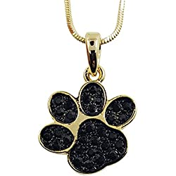 "Small Adorable Gold Tone Puppy Dog Kitten Cat Animal Black Crystal Paw Print 3/4"" Charm Necklace Girls Teens Women"