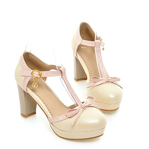 YE Damen T Strap Pumps Blockabsatz High Heels Sandalen