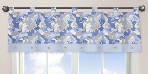 Sweet Jojo Designs Window Valance - Blue and Khaki Camo Army Camouflage