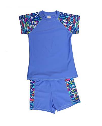(iDrawl Boys Girls Two Piece Short Rash Guard Sleeves Swimming Wear Purple)