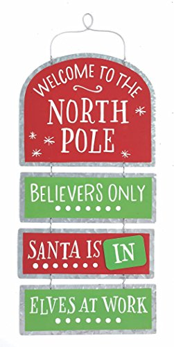 Welcome to The North Pole Santa is in/Out Tin Christmas Sign - Hanging Holiday Decoration