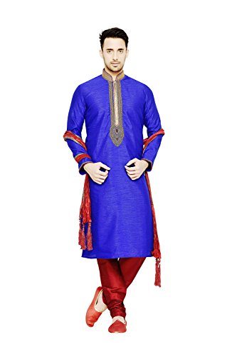 Da Facioun Indian Traditional Designer Partywear Ethnic Royal Blue Mens Kurta Pajama by Da Facioun