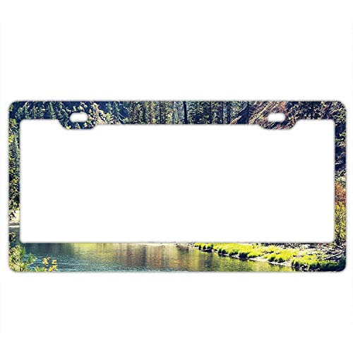 (LLgLOOhOPPPJDh Ayibagexi Automobile Plate Cover - Scenic Mountain with Pine Trees and Flowing River Colorful Foliage Daytime Sunshine Nature - Aluminum License Plate, Front License Plate, Vanity Tag)
