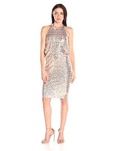 Back Drape Mischka Sequin Blush Dress Women's Badgley Cocktail wPaOSqSg