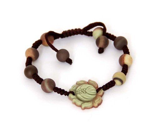 Zipao Green Purple Stone Carved Buddhist Auspicious Lotus Flower Length Adjustable Bracelet