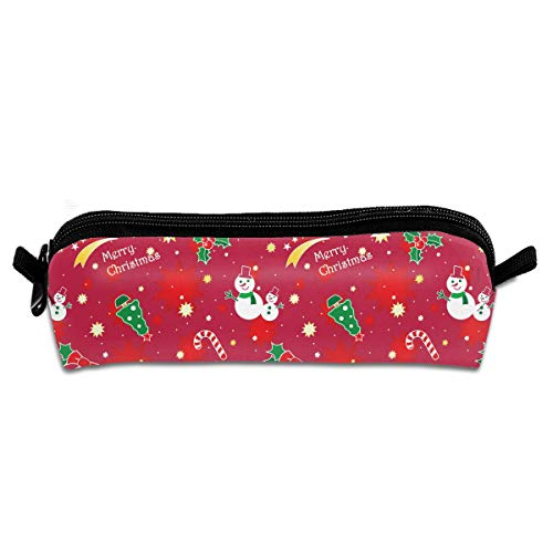Red Christmas Bell Snowman Lollipop Novelty Colored Quality Zipper Travel Storage Makeup Cosmetic Bag Purse