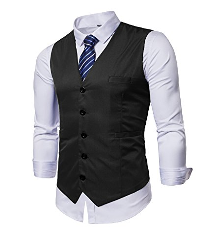 Mens Vest Tux - AOYOG Mens Business Suit Vests Waistcoat Slim Fit for Suit Or Tuxedo, Black, Small
