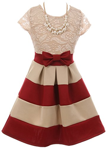 BluNight Collection Dainty Lace Bow Stripe Necklace Big Girl Flower Girls Dresses (20JK16S) Burgundy Taupe 12