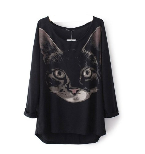 WIIPU Cat Head Printed Turn up Cuff Long Sleeve Sweater(J139) (XL)