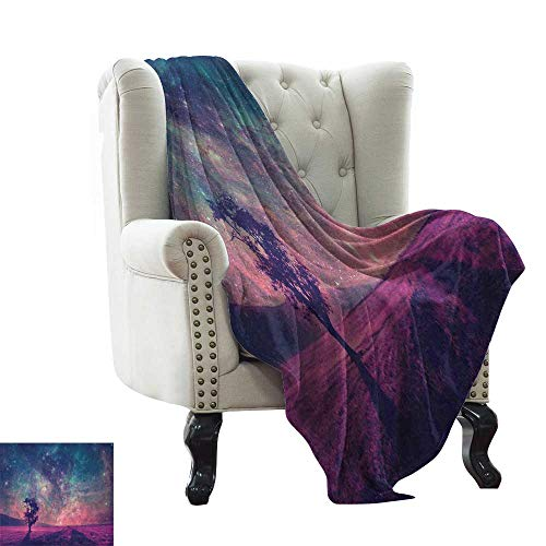 BelleAckerman Weighted Blanket for Kids Galaxy,Lonely Tree Silhouette Magical Fantastic Space NASA Furnished Elements Artwork, Pink Coral Blue Reversible Soft Fabric for Couch Sofa Easy Care 50