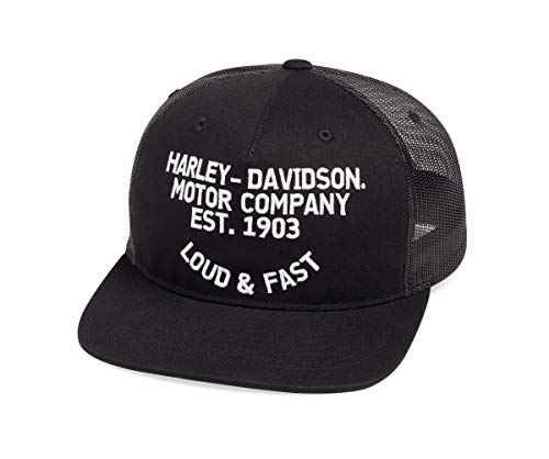Harley-Davidson Official Men's Loud & Fast Flat Brim Trucker Cap, Black (Harley Ball Cap)