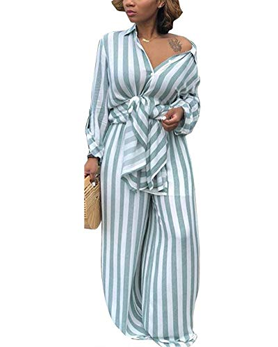 Womens 2 Piece Outfits Fashion Open Front Cardigan Kimono Cover-Up with Wide Leg Long Pants Set Blue S