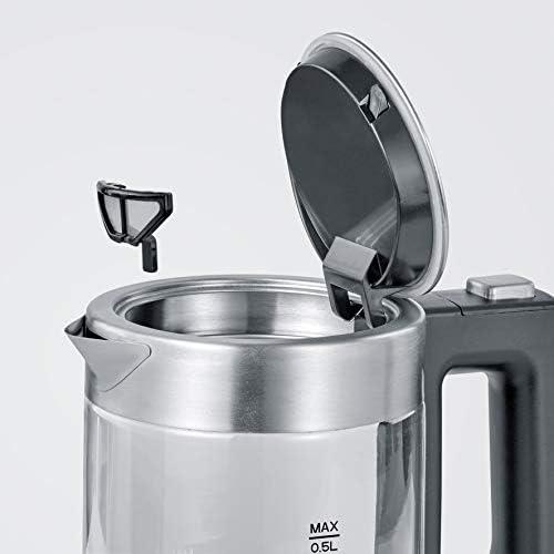 Severin WK 3472 Mini bouilloire en verre de qualité supérieure et confortable 0,5 l, 1100 W, 100 % sans BPA