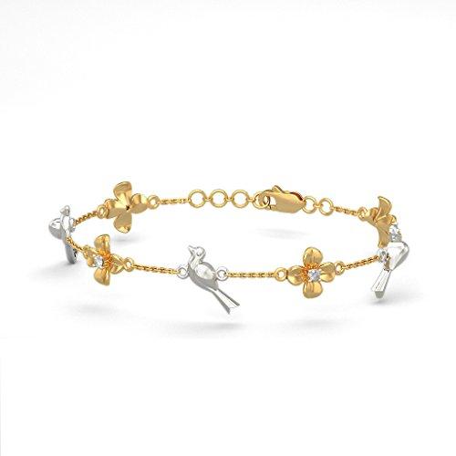 Or jaune 18K, 0.06CT TW Round-cut-diamond (Ij| SI) Identification-bracelets
