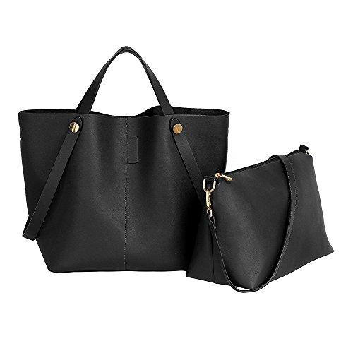 Womens Shopper Bag Ladies Large Shoulder Leather Handbag Set New Designer Purse Black
