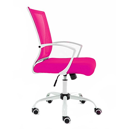 Modern Home WHPINK Zuna Mid-Back Office Chair, White/Pink