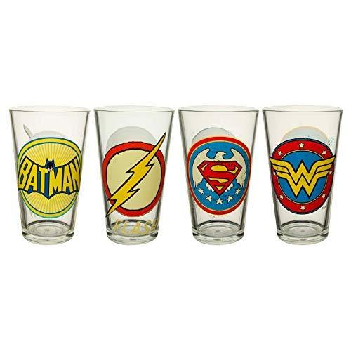 Zak Designs DC Super Heroes 4 Piece Glass Drinkware Set