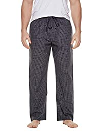 CYZ Men's 100% Cotton Poplin Pajama Lounge Sleep Pant-CharcoalCheck-L
