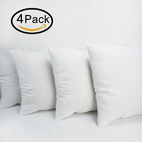 4 Packs Decorative Square Pillow Insert - 20 x 20 Inch Sofa and Bed Pillow by Hippih