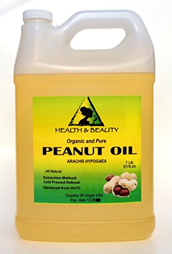 Peanut Oil Refined Organic Carrier Cold Pressed 100% Pure 128 oz, 7 LB, 1 gal