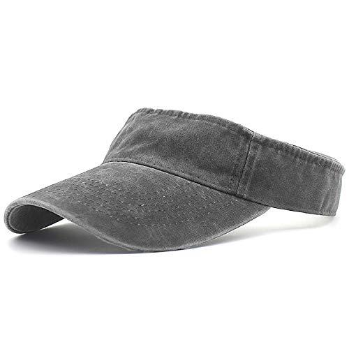 HH HOFNEN Men Women Washed Twill Cotton Sun Visor Baseball Cap Vintage Adjustable Dad Hat (#3 Gray)