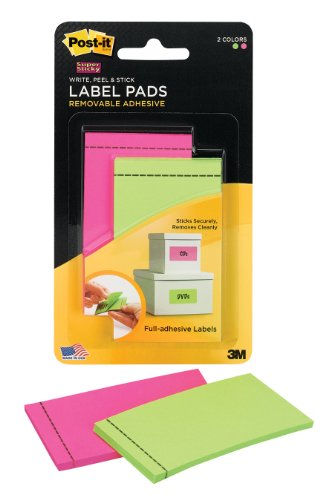 Label Pads - Post-it Super Sticky Pad Labels, Pink, Limeade 1 7/8-inch x 2 7/8-inch, 25 Sheets per Pad, One Pad of each Color (2900-PGB)