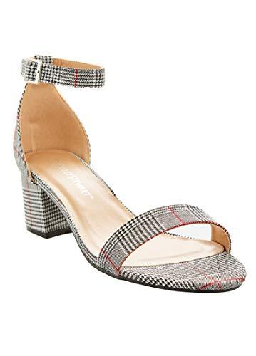 (Charles Albert Wide Width Heel Ankle Strap Pump Plaid Sandal (10 W US, Black Plaid))