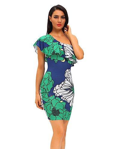 Green Midi Fiesta Verdosas Florales Culotte De Vestido Hombro Estampados Fiesta JIALE3536 Mujer Vestido Frill Mujer Un IwB6qqZ4