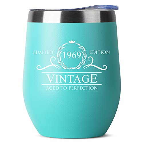 1969 50th Birthday Gifts for Women Men | Vintage Aged to Perfection Stainless Steel Tumbler | 12 oz Mint Tumblers w Lid | Funny Gift Ideas for Him Her Husband Wife Mom Dad | Insulated Cups 50 th bday