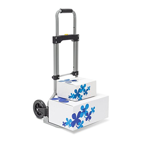 Relaxdays Sackkarre klappbar belastbar bis 60 kg Transportkarre mit ausziehbarem Griff, grau, 37 x 38 x 96 cm, 10020046