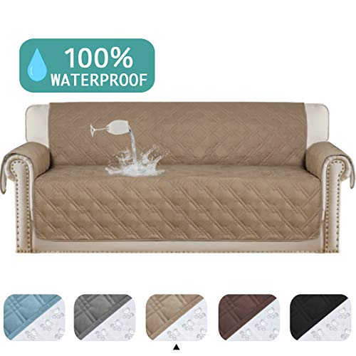 "100% Waterproof Sofa Protector Extra-Wide Couch Cover Non-Slip Oversized Furniture Covers Lounge Covers for Leather Sofa Cover Features Protect from Wear and Tear (Oversize Sofa, 86""x 132"") Taupe"