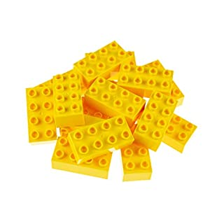 Strictly Briks Big Briks 16 Piece Yellow 2x4 Building Brick Creative Play Set - 100% Compatible with All Large Block and Brick Brands - Ages 3 and Up
