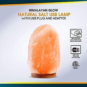 Himalayan Glow Multicolor USB Salt Lamp,Pink Salt Night Light,Hand Crafted Salt Lamp with Need Wooden Base,USB Plug & Adapter,Salt Lamp Bulb, Perfect Gift Choice | 4-5 LBS