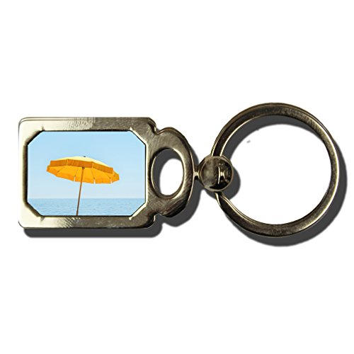 Yellow Summer Umbrella Under Blue Sky One Side Framed Metal Key Chain from Style in Print