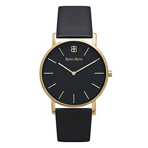 38mm Ultra Thin Slim Case Minimalist Fashion Watch for Men & Women by Byron Bond (Conduit - Gold Case with Black Dial and Black Leather Strap)
